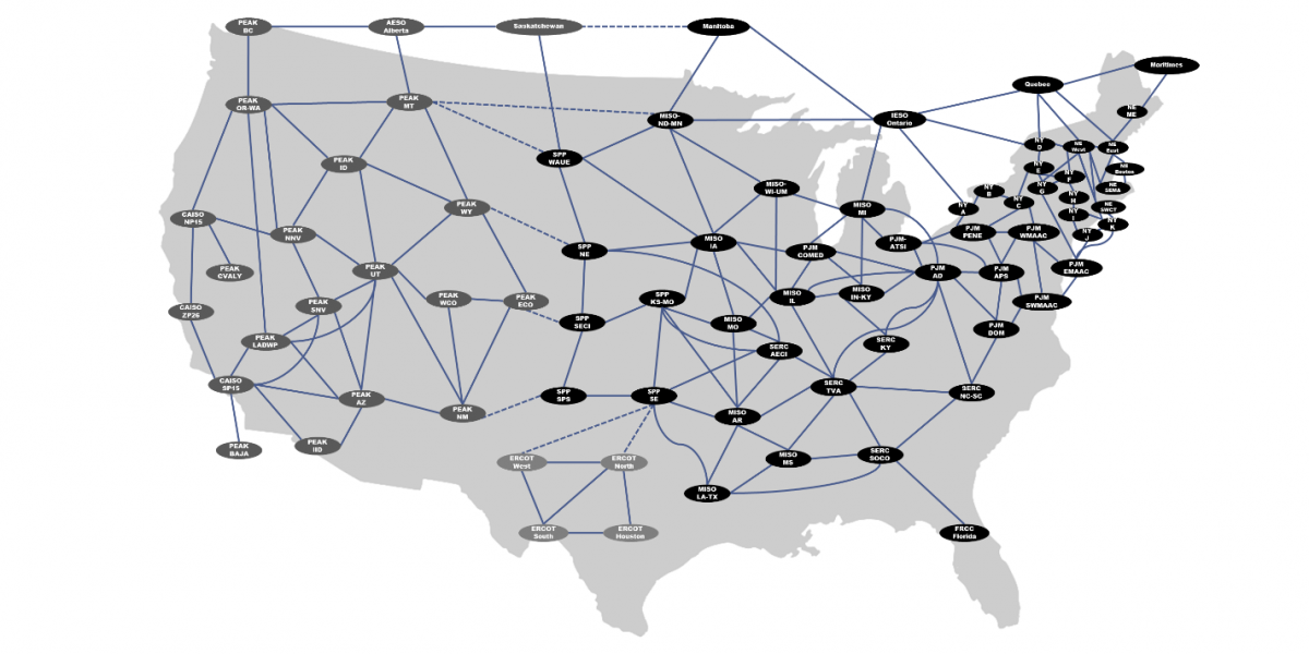 Modeled areas and links in the EnCompass National Database